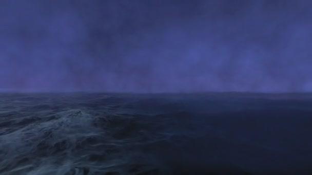 Bouřlivé moře v noci s deštěm. Světelné záblesky uprostřed oceánu během silné bouře