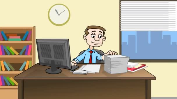 stressed businessman is working with documents at a workplace in office