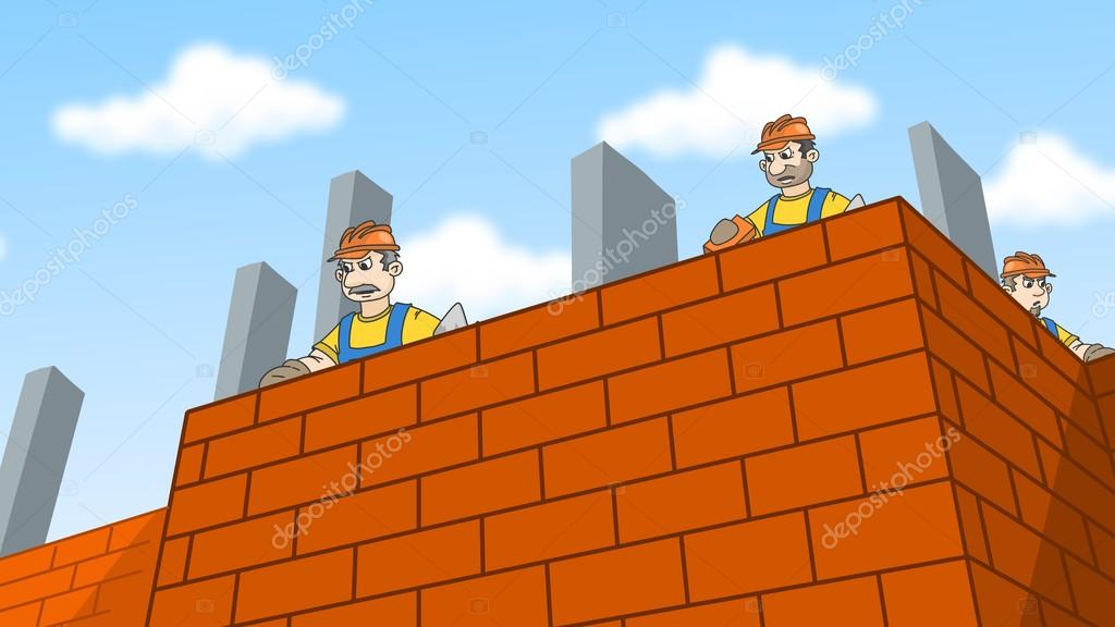 Construction Workers Laying Bricks Builders Wearing A Hard Hat Building Brick Wall Cartoon Illustration Photo By Regisser Com