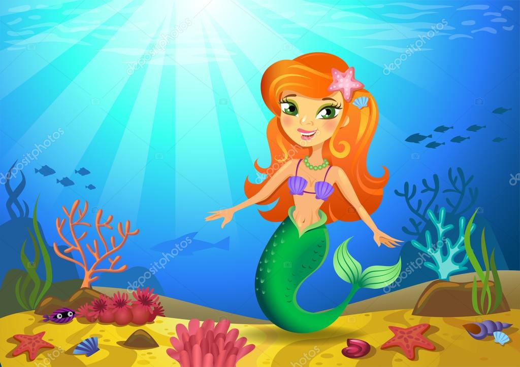 Seabed with mermaid and corals
