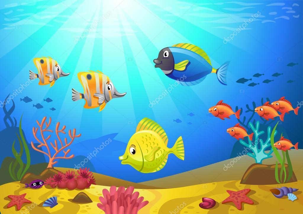 Fondo marino con coralli vettoriali stock azzzya for Immagini coralli marini