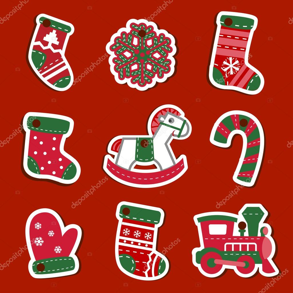 Vector Christmas tags or stickers for gifts.