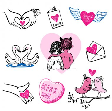 Set of nine Valentine vector icons, hand drawn style. clip art vector