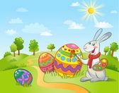 Roztomilý zajíček velikonoční malování vajíčko