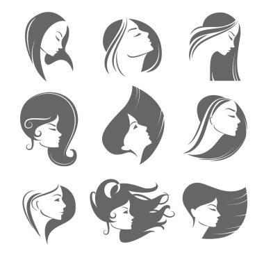 Girls portrait  - vector silhouette icon, monochrome