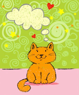 Greeting card with red cat