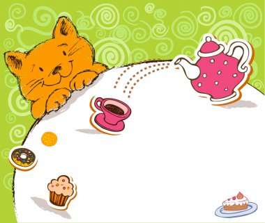 Greeting card with red cat and place for text.