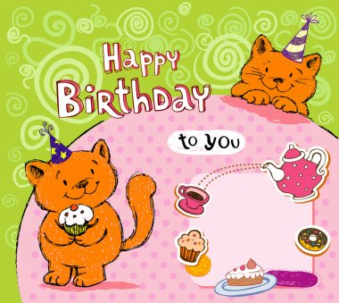 Birthday greeting card with red cats