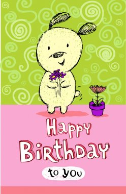 Birthday greeting card with cute puppy