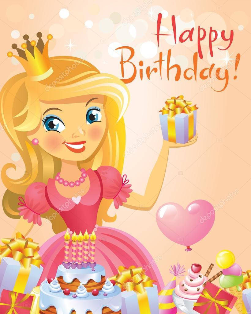 Happy Birthday Princess Greeting Card Stock Vector Azzzya