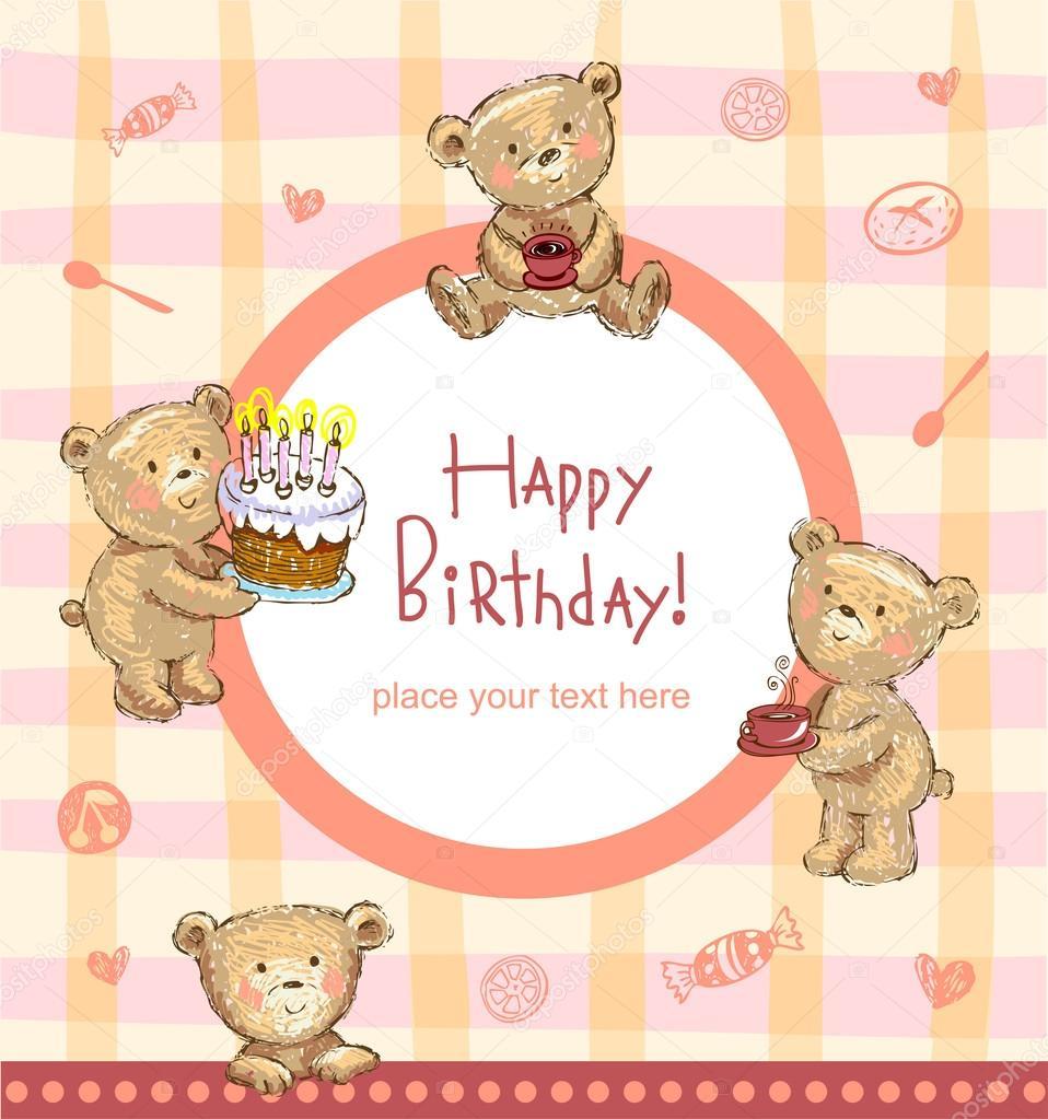 Sweet birthday greetings stock vector azzzya 65671675 birthday greetings from cute bears vector illustration vector by azzzya m4hsunfo