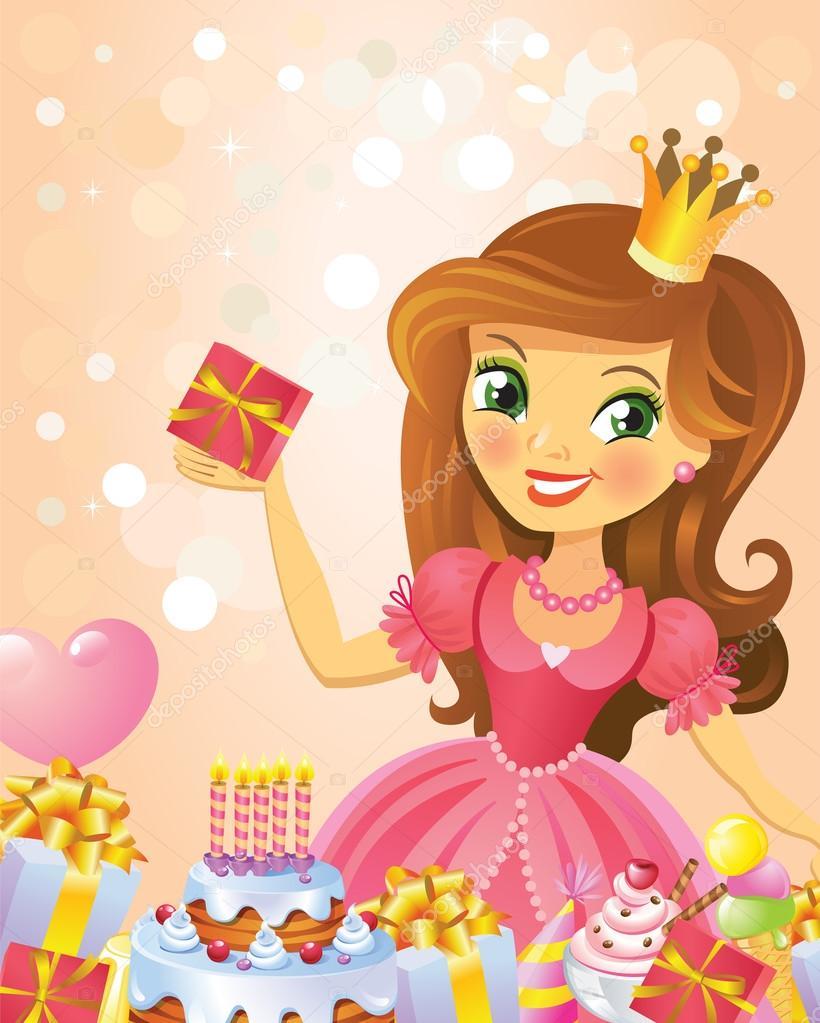 С днем рождения, принцесса, поздравительная открытка