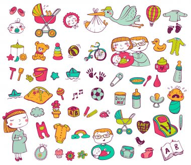 Set of hand-drawn icons baby toys, food, accessories stock vector