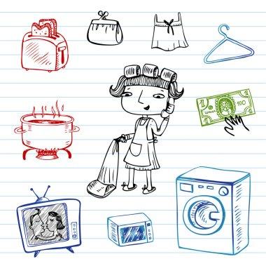 Housewife, doodle set