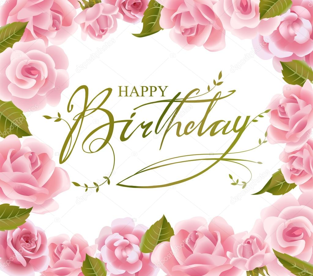 Roses Frame For Birthday Greeting Card In Vector Stock Vector