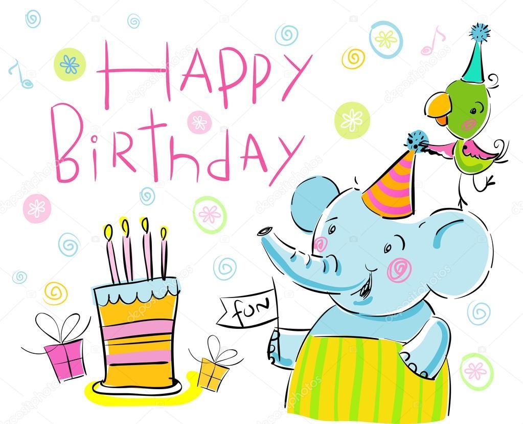 Verjaardag Olifant En Een Papegaai Stockvector C Azzzya 69230969