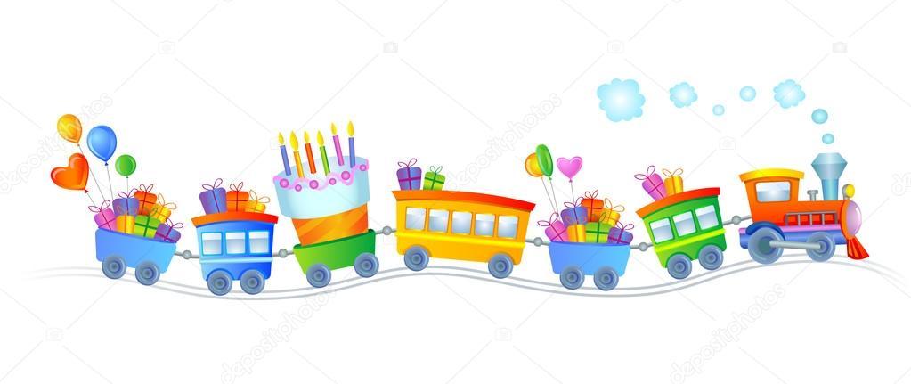 Открытка с поездом день рождения