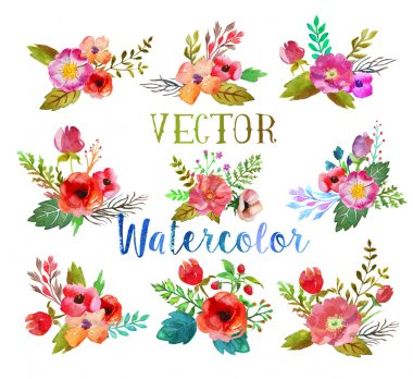 Vector watercolor buttonholes.
