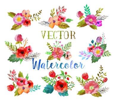 Vector watercolor buttonholes.