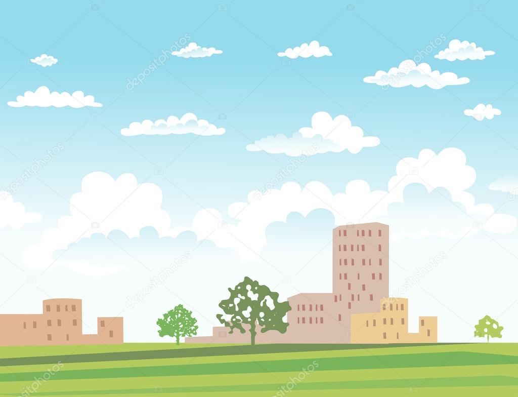 Vector illustration of urban landscape.
