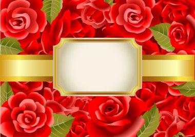 Frame on a red roses background, vector illustration. clip art vector
