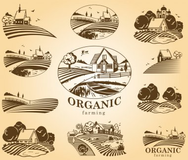Organic farming design elements.