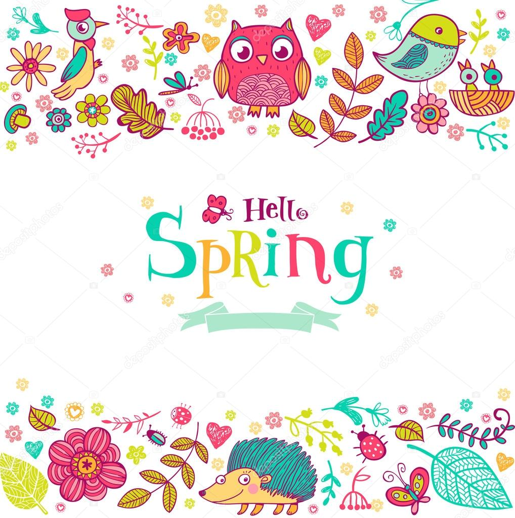 Hello Spring banner in doodle style