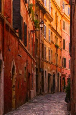 Rome Narrow Street Painting