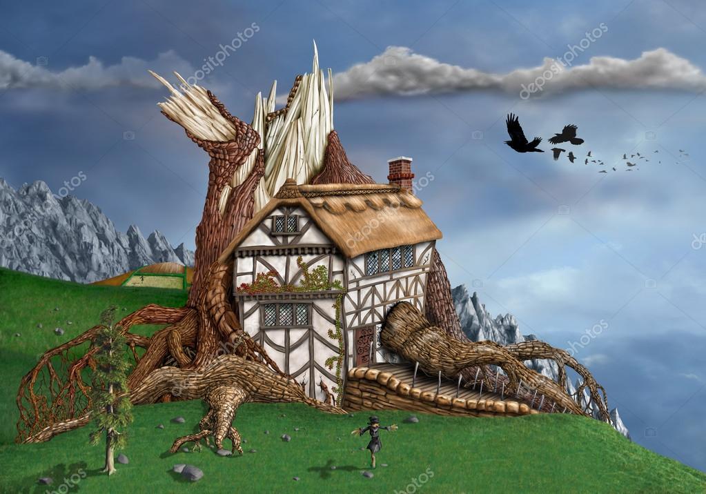 De Magische Boomhut : Fantasie boomhut u stockfoto paulfleet