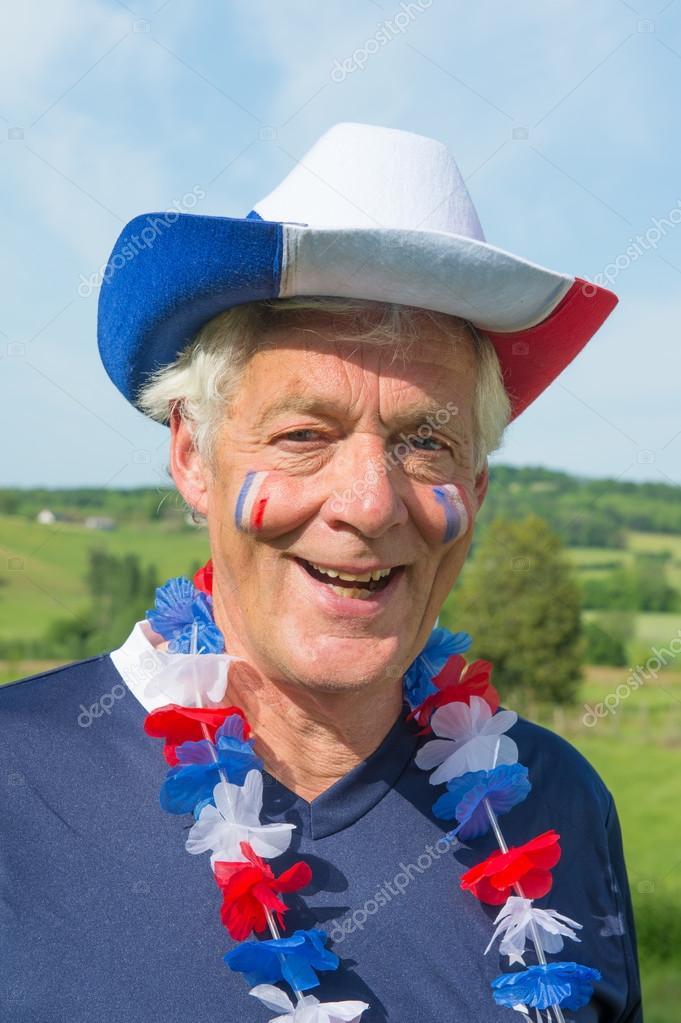 eecb75d85d8 French Soccer fan with hat — Stock Photo © ivonnewierink  111278288