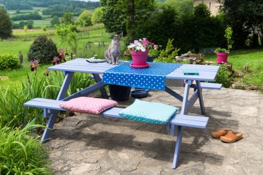 Picnic table in the garden