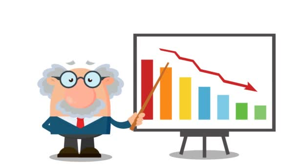 Professor oder Wissenschaftler Cartoon-Figur mit Zeiger, der ein fallendes Diagramm präsentiert. 4K Animation Video Motion Graphics ohne Hintergrund