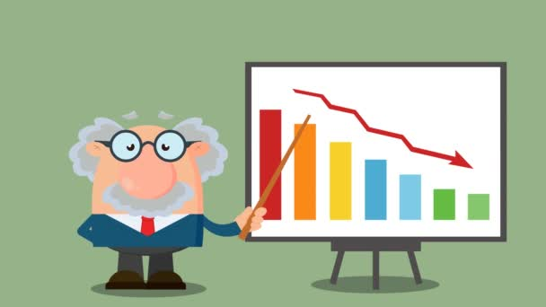 Profesor nebo vědec kreslený postava s ukazatelem prezentující klesající graf. 4K Animation Video Motion Graphics With Background