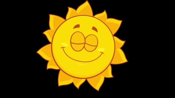 Smiling Yellow Sun Cartoon Charakter. 4K Animation Video Motion Graphics ohne Hintergrund