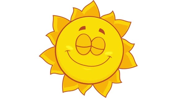 Žlutý Sun Cartoon Character. 4K animace Video Motion Graphics bez pozadí
