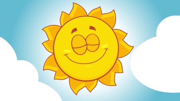 Happy Yellow Sun Cartoon Character With Clouds. 4K Animation Video Motion Graphics With Background