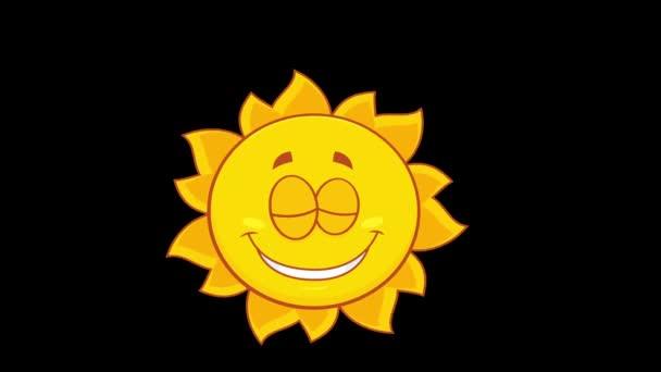 Usmívající se žlutý Sun Cartoon Character. 4K animace Video Motion Graphics bez pozadí