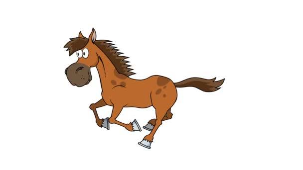 Kůň Kreslený Postava běží. 4K animace Video Motion Graphics bez pozadí
