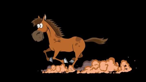 Ló Rajzfilm Karakter Futás. 4K Animation Video Motion Grafika háttér nélkül