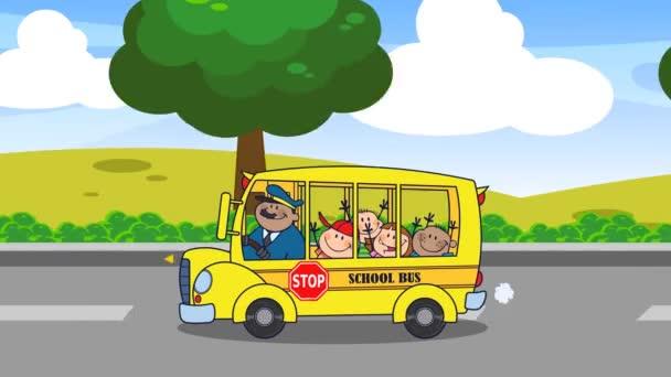 Školní autobus se šťastnými dětmi Kreslené postavy Chystáte se do školy. 4K Animation Video Motion Graphics With Background