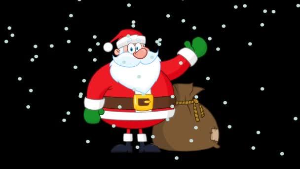 Santa Claus Cartoon Character Waving. 4K animace Video pohybové grafiky bez pozadí