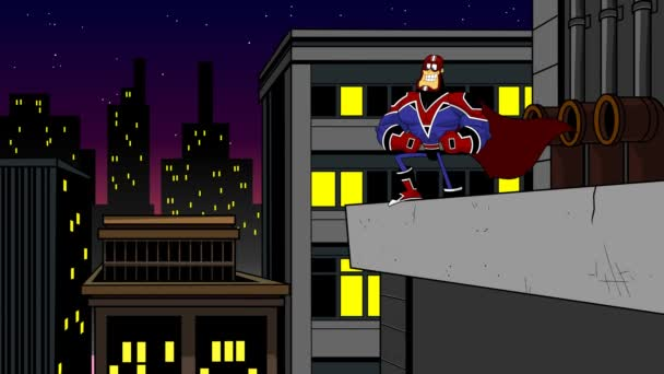 Super Hero Cartoon Charakter über das Bauen in einer Stadt. 4K Animation Video Motion Graphics mit Stadtlandschaftshintergrund