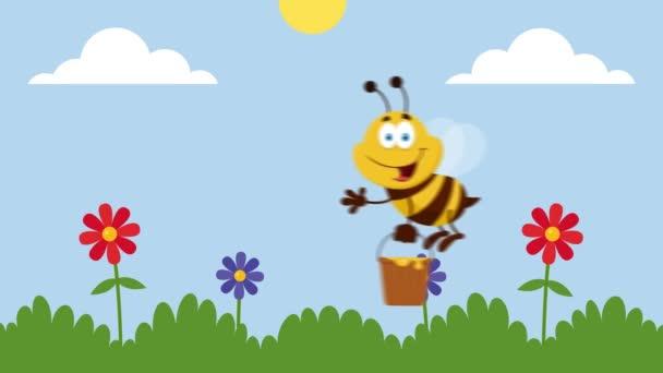 Bienen-Cartoon-Figur fliegt mit Eimer im Garten 4K Animation Video Motion Graphics mit Landschaftshintergrund