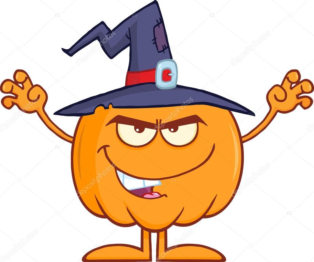 Spaventando la zucca di halloween con un cappello