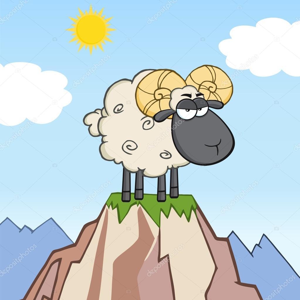 Angry Black Head Ram Sheep Cartoon Character On Top Of A Mountain