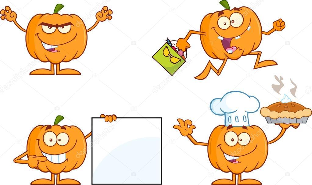 serie de personaje de dibujos animados calabaza 4. colección — Foto ...
