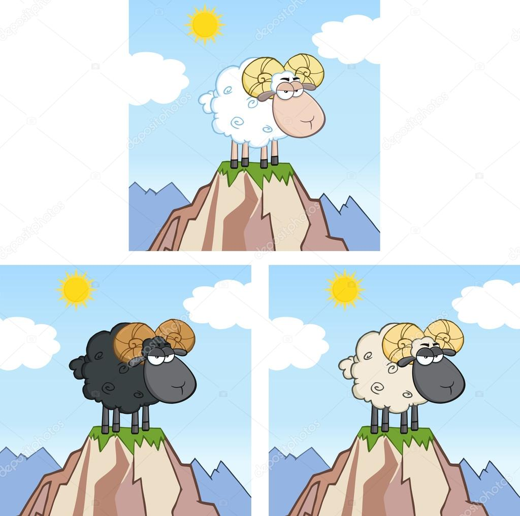 Goat Ram Sheep Cartoon Character On Top Of A Mountain. Collection Set