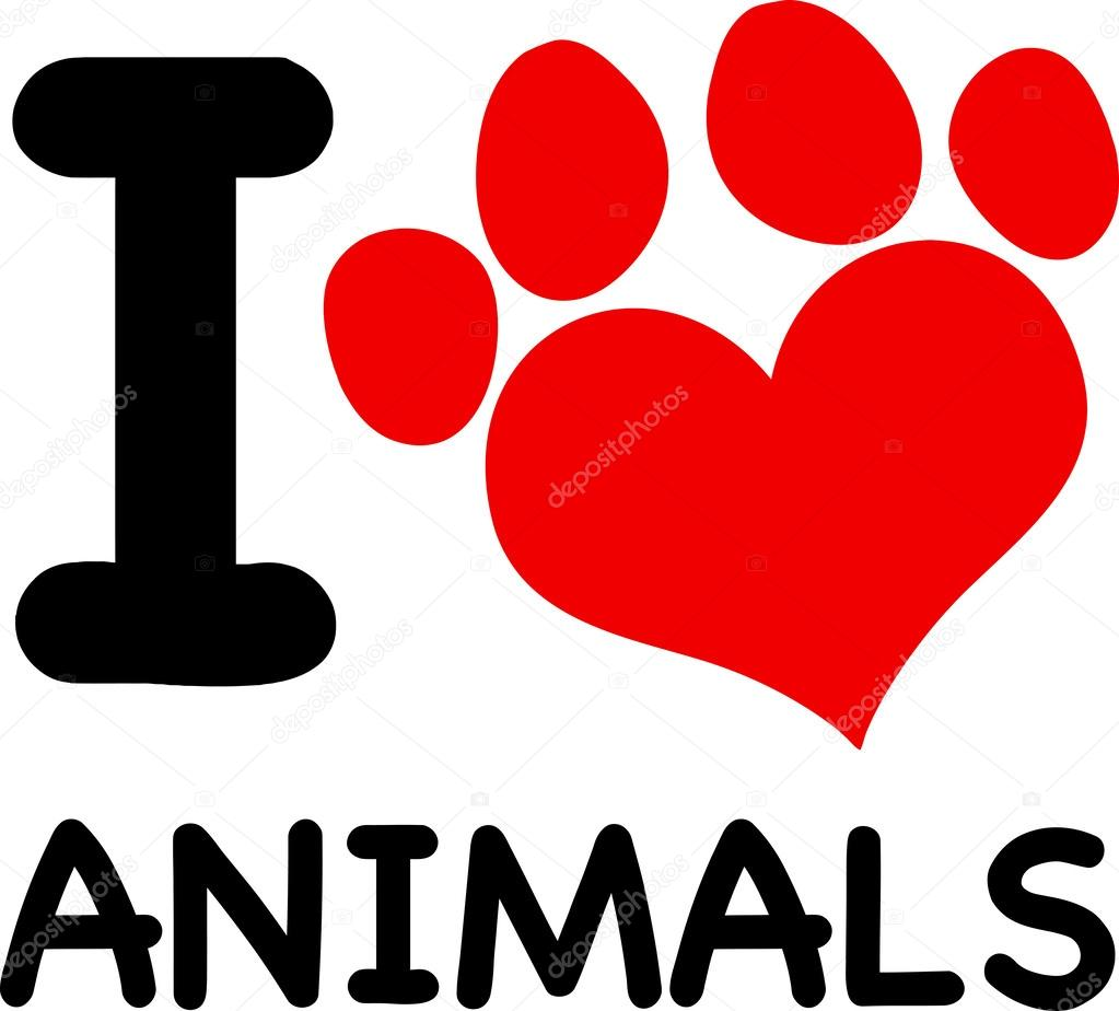 I Love Animals Text With Red Heart Paw Print Stock Photo Hittoon