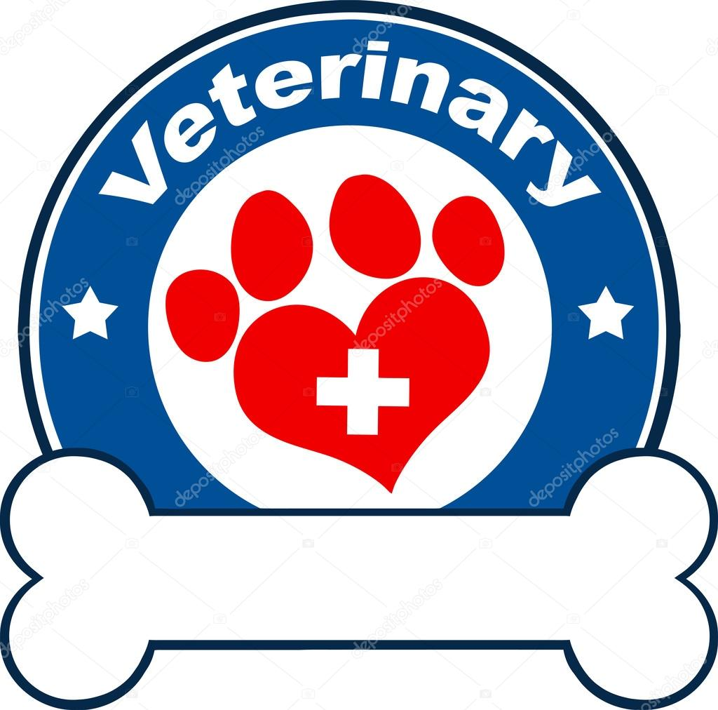 Veterinary Blue Circle Label Design With Love Paw PrintCross And Bone Under Text