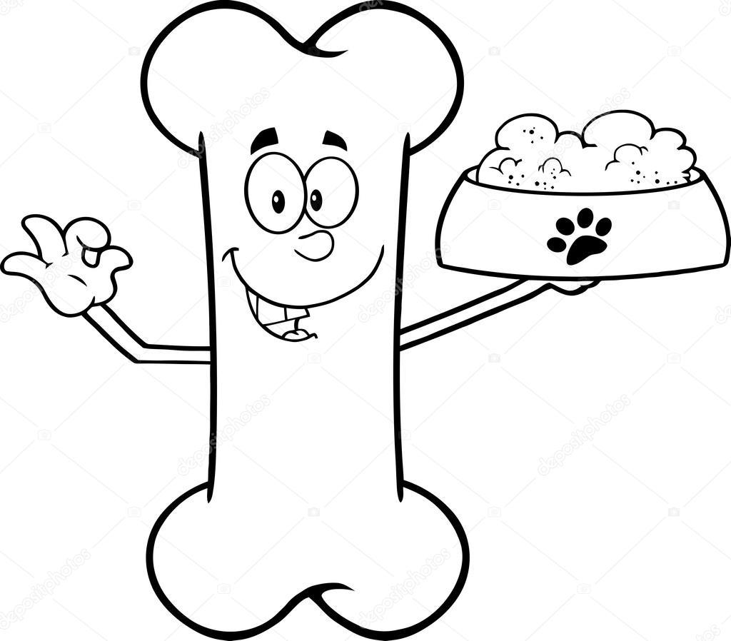 Dog And Bone Illustration Black And White